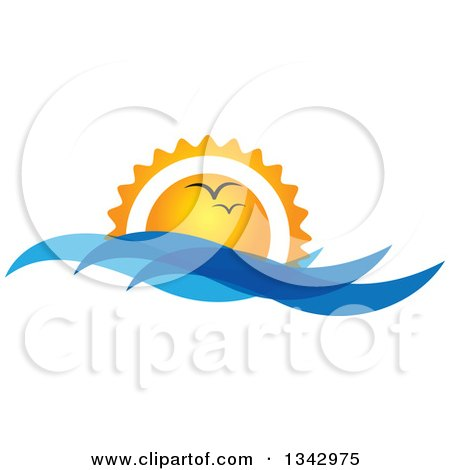 Clipart of Seagulls Flying Against an Ocean Sunset with Blue Waves - Royalty Free Vector Illustration by ColorMagic