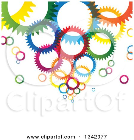Clipart of a Background of Colorful Gear Cog Wheels - Royalty Free Vector Illustration by ColorMagic