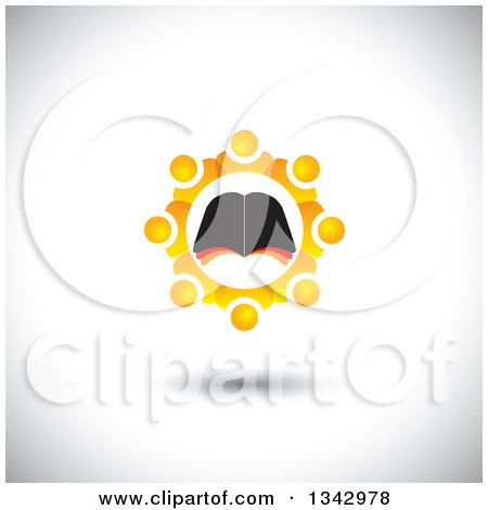 Clipart of a Bible Study Group of Orange People in a Gear like Circle Around an Open Book, over Shading - Royalty Free Vector Illustration by ColorMagic