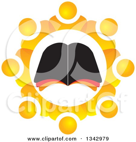Clipart of a Bible Study Group of Orange People in a Gear like Circle Around an Open Book - Royalty Free Vector Illustration by ColorMagic