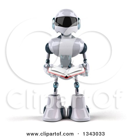 Clipart of a 3d White and Blue Robot Reading a Book - Royalty Free Illustration by Julos