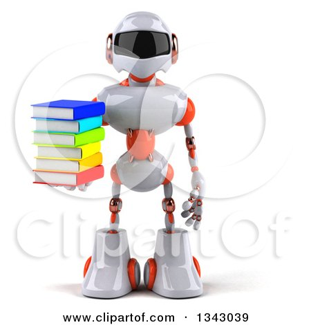 Clipart of a 3d White and Orange Robot Holding a Stack of Books - Royalty Free Illustration by Julos
