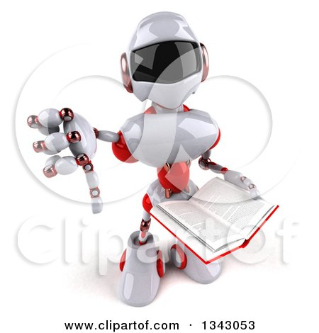 Clipart of a 3d White and Red Robot Holding up a Thumb down and a Book - Royalty Free Illustration by Julos