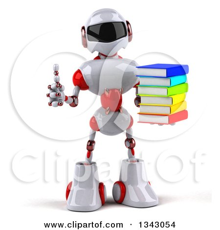 Clipart of a 3d White and Red Robot Giving a Thumb up and Holding a Stack of Books - Royalty Free Illustration by Julos