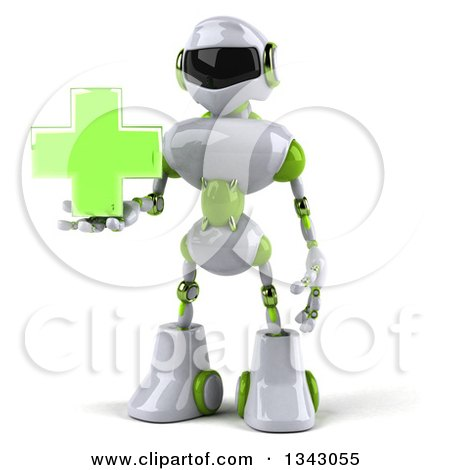 Clipart of a 3d White and Green Male Techno Robot Holding a Cross - Royalty Free Illustration by Julos