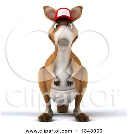 Clipart of a 3d Kangaroo Wearing a Baseball Cap - Royalty Free Illustration by Julos