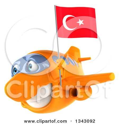 Clipart of a 3d Happy Orange Airplane Flying Slightly to the Left with a Turkey Flag - Royalty Free Illustration by Julos
