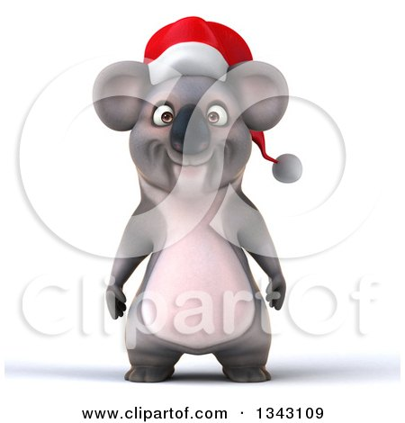 Clipart of a 3d Christmas Koala Wearing a Santa Hat - Royalty Free Illustration by Julos