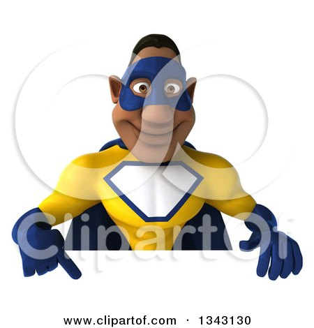 Clipart of a 3d Muscular Black Male Super Hero in a Yellow and Blue Suit Pointing down over a Sign - Royalty Free Illustration by Julos