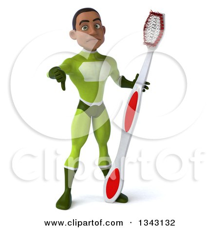 Clipart of a 3d Young Black Male Super Hero in a Green Suit, Giving a Thumb down and Holding a Giant Toothbrush - Royalty Free Illustration by Julos