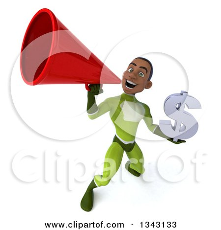 Clipart of a 3d Young Black Male Super Hero in a Green Suit, Holding a Dollar Currency Symbol and Announcing Upwards with a Megaphone - Royalty Free Illustration by Julos