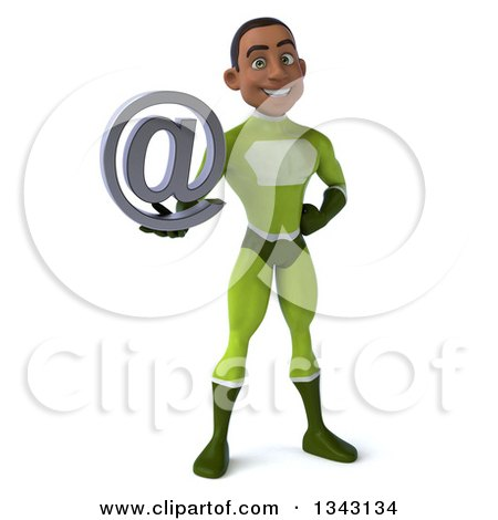 Clipart of a 3d Young Black Male Super Hero in a Green Suit, Holding an Email Arobase at Symbol - Royalty Free Illustration by Julos