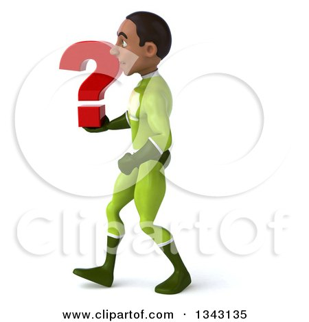 Clipart of a 3d Young Black Male Super Hero in a Green Suit, Holding a Question Mark and Walking to the Left - Royalty Free Illustration by Julos