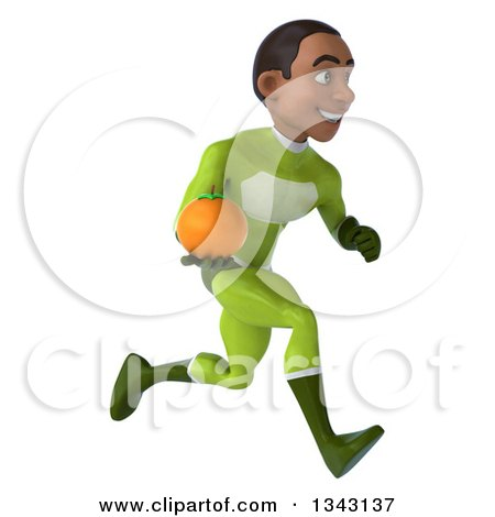Clipart of a 3d Young Black Male Super Hero in a Green Suit, Holding a Navel Orange and Sprinting to the Right - Royalty Free Illustration by Julos