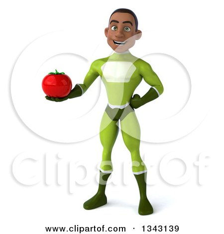Clipart of a 3d Young Black Male Super Hero in a Green Suit, Holding a Tomato - Royalty Free Illustration by Julos