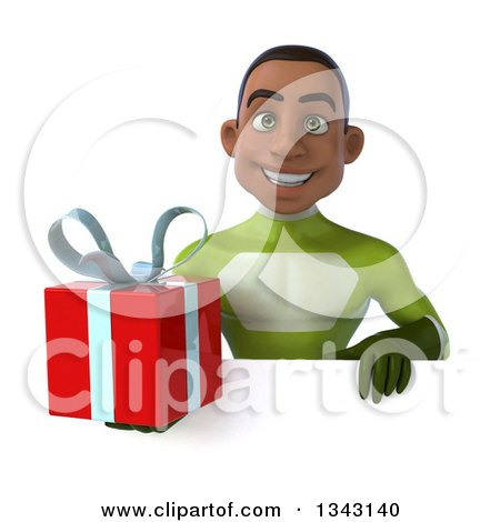 Clipart of a 3d Young Black Male Super Hero in a Green Suit, Holding a Gift over a Sign - Royalty Free Illustration by Julos