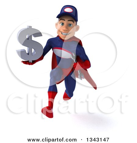 Clipart of a 3d Young White Male Super Hero Mechanic in Red and Dark Blue, Holding a Dollar Currency Symbol and Sprinting - Royalty Free Illustration by Julos