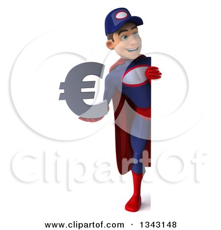 Clipart of a 3d Full Length Young White Male Super Hero Mechanic in Red and Dark Blue, Holding a Euro Currency Symbol and Looking Around a Sign - Royalty Free Illustration by Julos