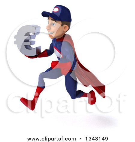 Clipart of a 3d Young White Male Super Hero Mechanic in Red and Dark Blue, Holding a Euro Currency Symbol and Sprinting to the Left - Royalty Free Illustration by Julos