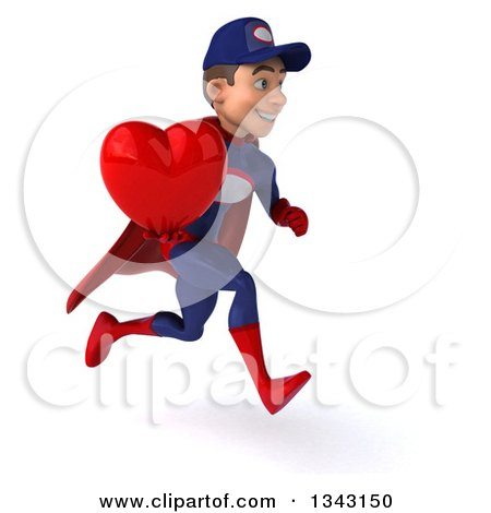 Clipart of a 3d Young White Male Super Hero Mechanic in Red and Dark Blue, Holding a Red Love Heart and Sprinting to the Right - Royalty Free Illustration by Julos