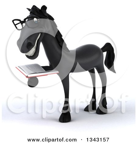 Clipart of a 3d Bespectacled Black Horse Facing Slightly Left and Reading a Book - Royalty Free Illustration by Julos