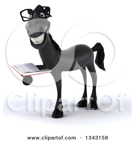 Clipart of a 3d Bespectacled Black Horse Facing Slightly Left and Holding a Book - Royalty Free Illustration by Julos