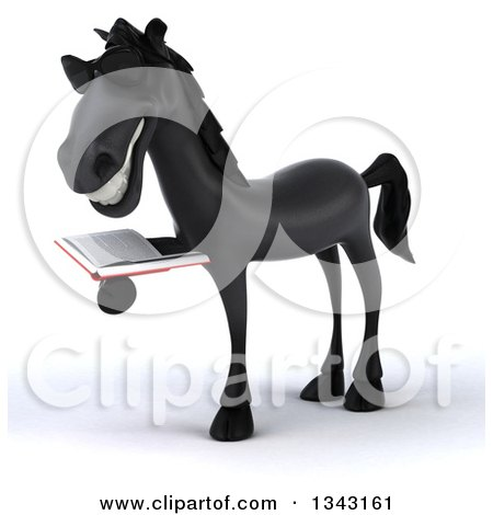 Clipart of a 3d Black Horse Wearing Sunglasses, Facing Slightly Left and Reading a Book - Royalty Free Illustration by Julos