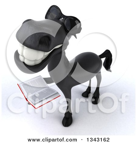 Clipart of a 3d Black Horse Wearing Sunglasses, Looking up and Holding a Book - Royalty Free Illustration by Julos