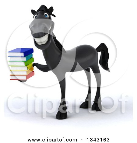 Clipart of a 3d Black Horse Facing Left, Smiling and Holding a Stack of Books - Royalty Free Illustration by Julos