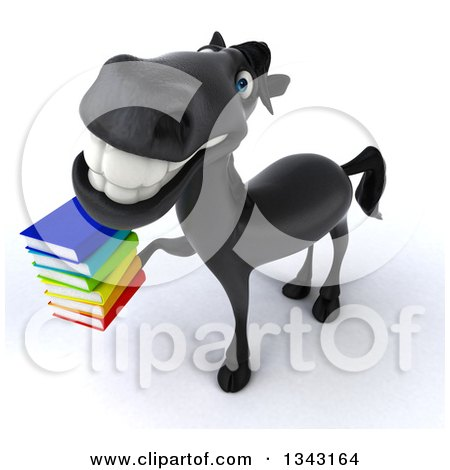 Clipart of a 3d Black Horse Facing Slightly Left, Looking up and Holding a Stack of Books - Royalty Free Illustration by Julos