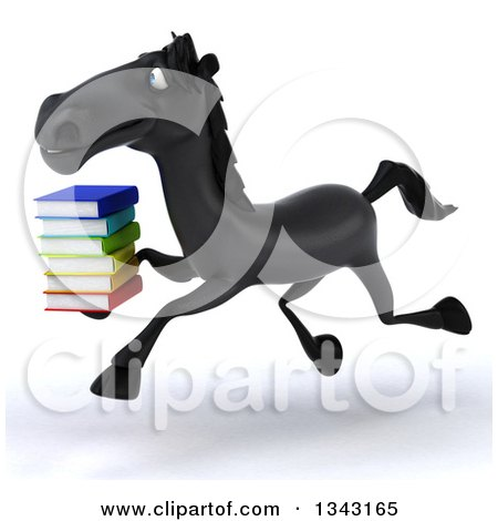 Clipart of a 3d Black Horse Running to the Left and Holding a Stack of Books - Royalty Free Illustration by Julos