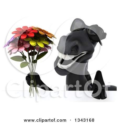 Clipart of a 3d Black Horse Wearing Sunglasses and Holding a Flower Bouquet over a Sign - Royalty Free Illustration by Julos