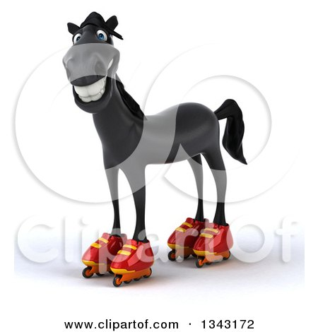 Clipart of a 3d Black Horse Standing in Roller Blades - Royalty Free Illustration by Julos
