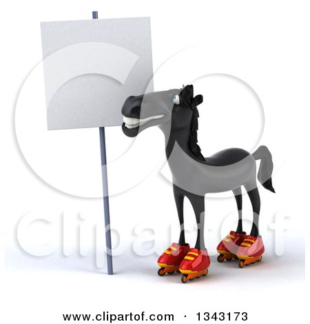 Clipart of a 3d Black Horse in Roller Blades, Looking up at a Blank Sign - Royalty Free Illustration by Julos