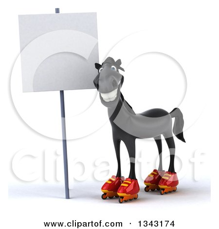 Clipart of a 3d Black Horse in Roller Blades by a Blank Sign - Royalty Free Illustration by Julos