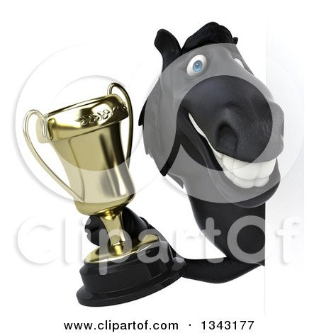 Clipart of a 3d Black Horse Holding a Championship Trophy Around a Sign - Royalty Free Illustration by Julos