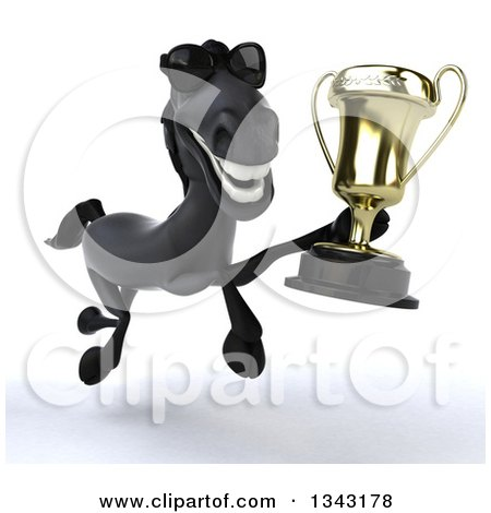 Clipart of a 3d Black Horse Wearing Sunglasses and Running Slightly to the Right with a Championship Trophy - Royalty Free Illustration by Julos
