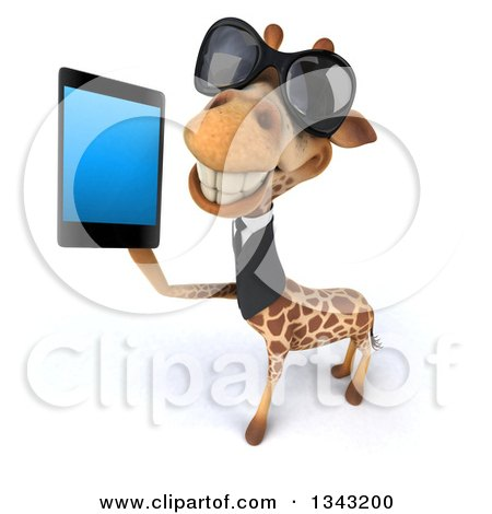Clipart of a 3d Business Giraffe Wearing Sunglasses, Facing Slightly Left and Holding up a Smart Cell Phone - Royalty Free Illustration by Julos