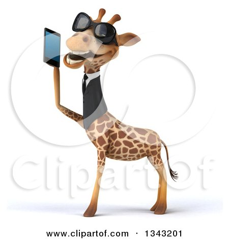 Clipart of a 3d Business Giraffe Wearing Sunglasses, Facing Left and Holding a Smart Cell Phone 2 - Royalty Free Illustration by Julos