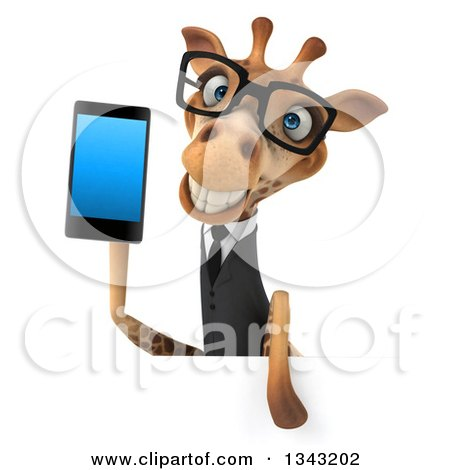 Clipart of a 3d Bespectacled Business Giraffe Holding a Smart Cell Phone over a Sign - Royalty Free Illustration by Julos