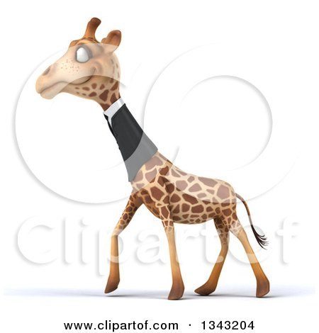 Clipart of a 3d Business Giraffe Walking to the Left - Royalty Free Illustration by Julos