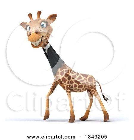 Clipart of a 3d Business Giraffe Grinning and Walking to the Left - Royalty Free Illustration by Julos