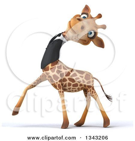Clipart of a 3d Business Giraffe Leaning His Head Back and Walking to the Left - Royalty Free Illustration by Julos