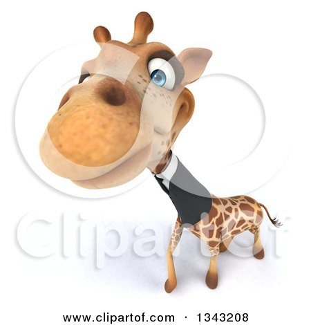 Clipart of a 3d Business Giraffe Looking up - Royalty Free Illustration by Julos