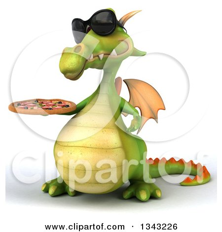 Clipart of a 3d Green Dragon Wearing Sunglasses, Facing Slightly Right and Holding a Pizza - Royalty Free Illustration by Julos