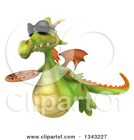Clipart of a 3d Green Dragon Wearing Sunglasses, Flying Slightly Right and Holding a Pizza - Royalty Free Illustration by Julos