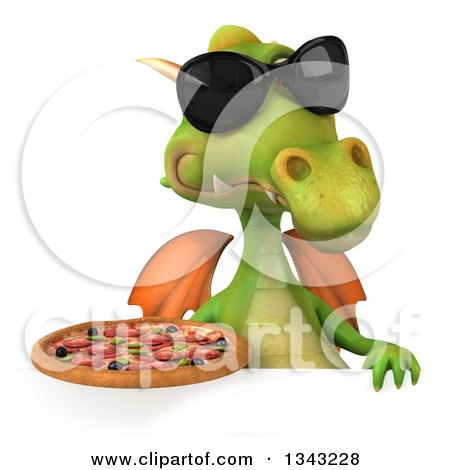 Clipart of a 3d Green Dragon Wearing Sunglasses and Holding a Pizza over a Sign - Royalty Free Illustration by Julos
