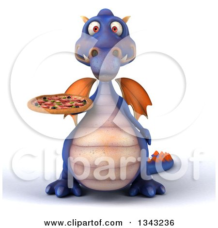 Clipart of a 3d Purple Dragon Holding a Pizza - Royalty Free Illustration by Julos