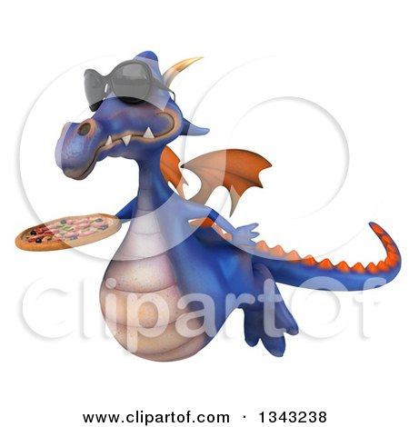 Clipart of a 3d Purple Dragon Wearing Sunglasses, Flying Slightly to the Left and Holding a Pizza - Royalty Free Illustration by Julos