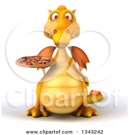 Clipart of a 3d Yellow Dragon Holding a Pizza - Royalty Free Illustration by Julos